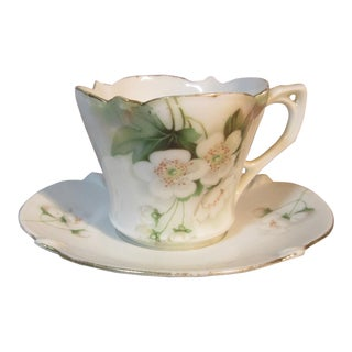Circa 1904 RS Prussia Dogwood Flowers Motif Chocolate Cup & Saucer For Sale