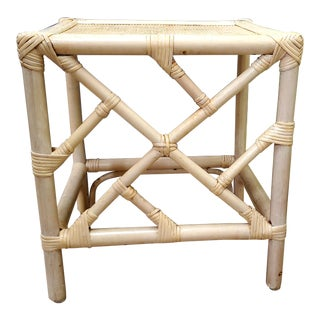 Hollywood Regency Bamboo Side Table in Light Shade For Sale
