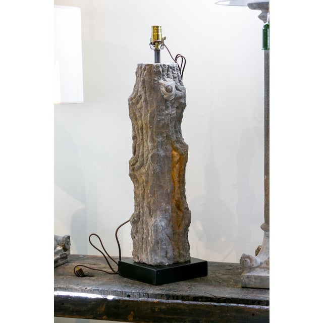 Belgian Carved Limestone Faux Bois Table Lamp For Sale - Image 3 of 9