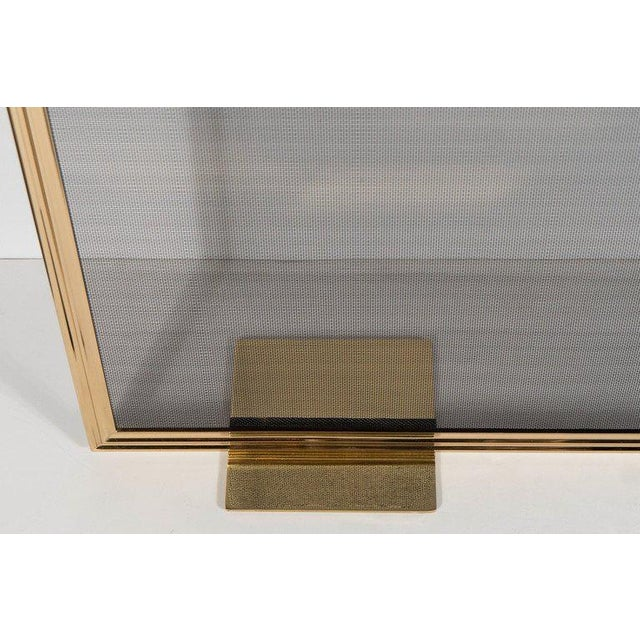 Custom Modern Fire Screen in Polished Brass with Curved Corner Detail For Sale - Image 4 of 9