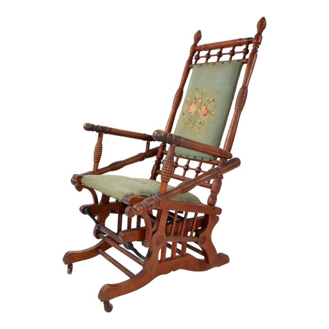 Antique Rocking Chair Hand Carved & Turned Walnut Wood Needlepoint Upholstery For Sale