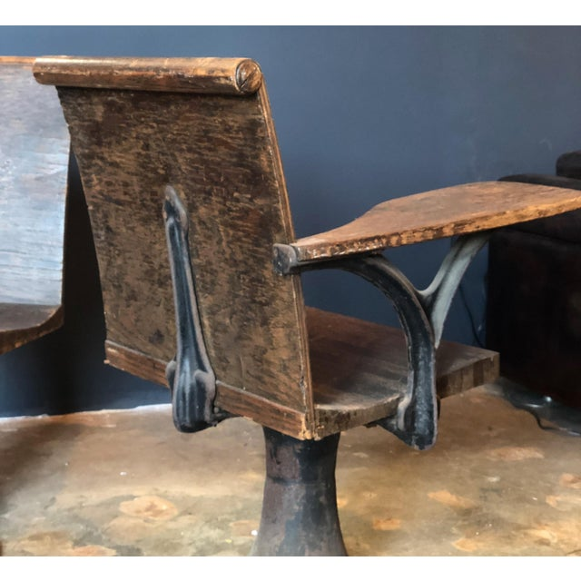 1920s Pair of Vintage Industrial 1920s School Chairs For Sale - Image 5 of 9