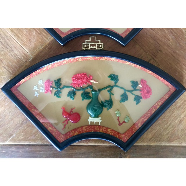 Mid-Century Modern Chinese Art Fan Shadow Box/Diorama - Set of 3 For Sale - Image 3 of 10