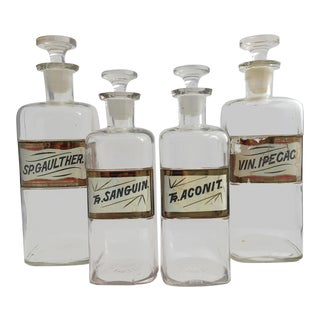 19th Century Early American Hand Painted Apothecary Bottles - Set of 4 For Sale