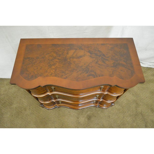 Trouvailles Continental Style Burl Wood Serpentine Chest of Drawers For Sale - Image 10 of 11