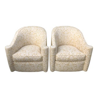 Rare Vintage Art Deco Barrel Club Chairs W Fortuny & Jay Robert Scott Fabric - a Pair For Sale