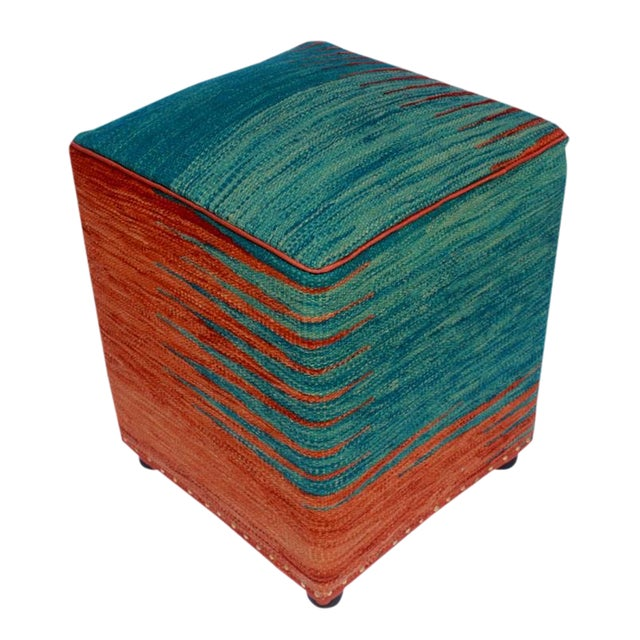 Arshs Dominica Blue/Rust Kilim Upholstered Handmade Ottoman For Sale