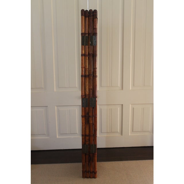 Brown Vintage Bamboo Rattan Folding Room Divider For Sale - Image 8 of 12