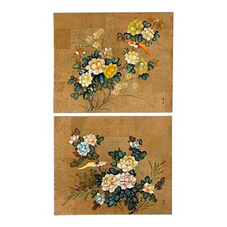 Asian Paintings on Paper With Gold Leaf - a Pair For Sale