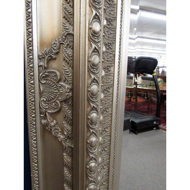 """89"""" High Silver Gilded Beveled Glass Floor Mirror For Sale - Image 6 of 12"""