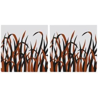"""Grasses"" in Orange Large Modern Art Print - Pair For Sale"