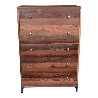 Vern Rustic Wooden 5 Drawer Chest for Bedroom For Sale