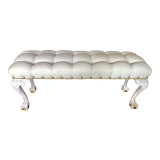 Off-White Tufted Bedside Bench For Sale