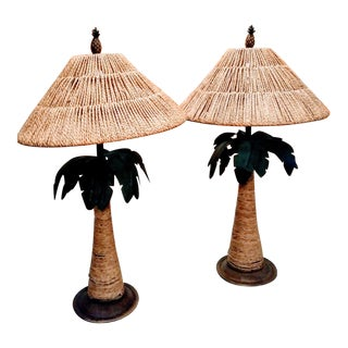 A Tropical Palm Beach Regency Metal Seagrass Shades Palm Tree Table Lamps - a Pair For Sale