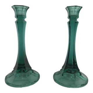 1970s Vintage Green Indiana Glass Candle Holders - a Pair For Sale