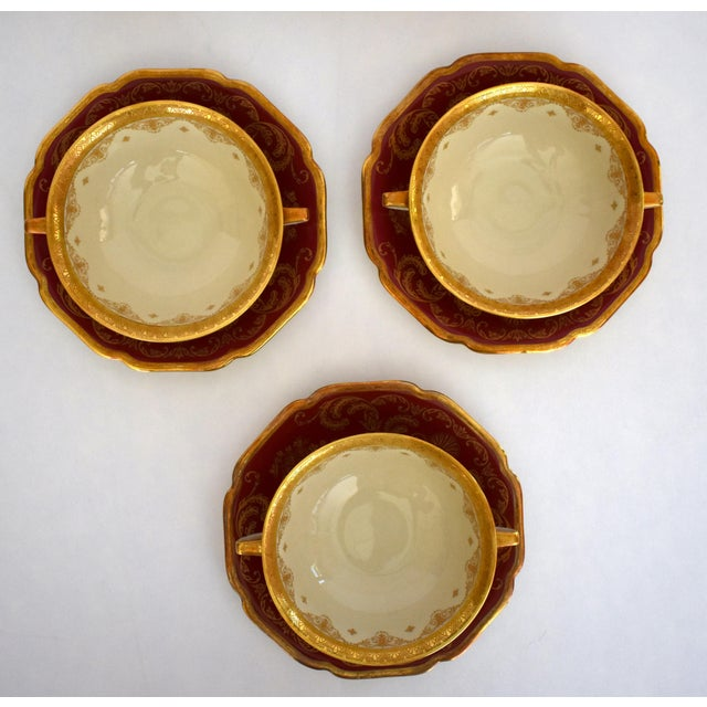 1930s Heinrich and Co. Selb H & C Bavaria German Porcelain Red and Gold Encrusted Handled Soup Bowl and Saucer - Set of 3 For Sale - Image 5 of 13
