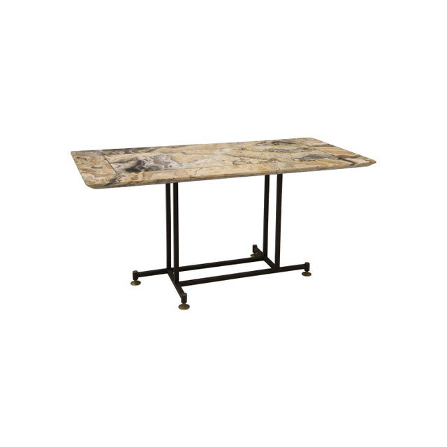 Gold Onyx Coffee Table With Brass Inlay and Iron Base For Sale - Image 8 of 8
