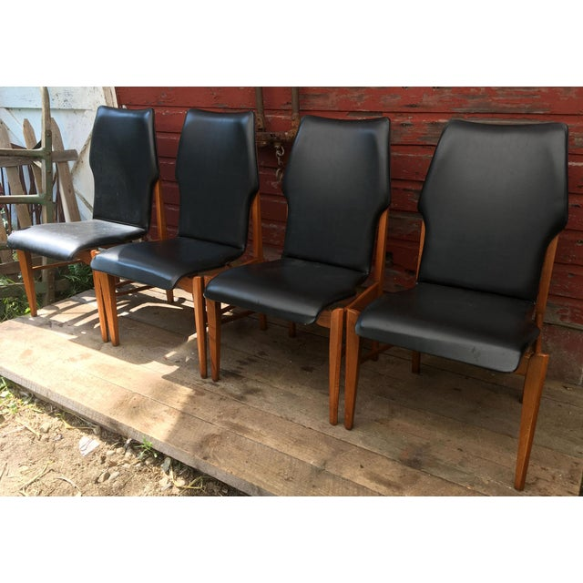 Danish Modern Set of 4 Mid Century Modern Lane High Back Walnut Dining Chairs For Sale - Image 3 of 11