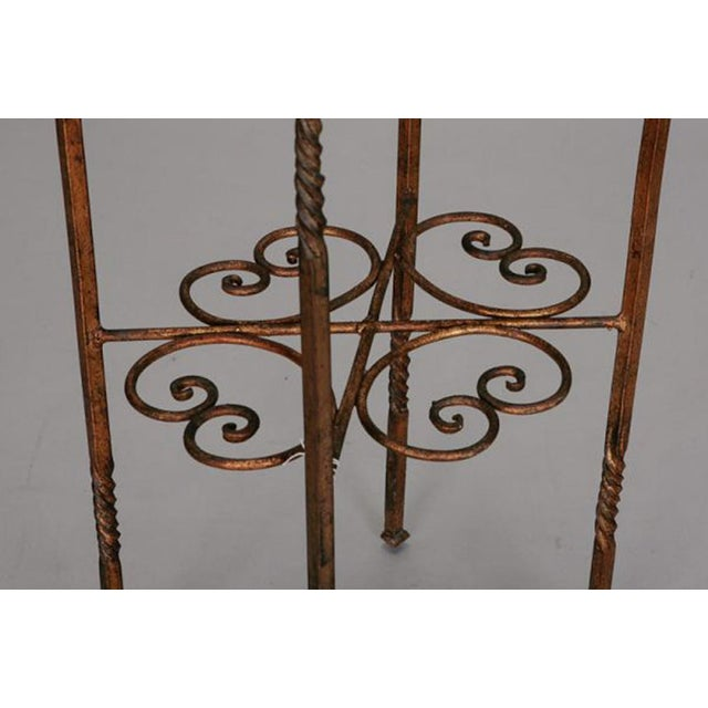 Italian Gilt Iron Statue Stand With Marble Top For Sale - Image 4 of 6
