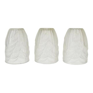 French Art Deco Frosted Glass Signed Schneider France Shades - Set of 3 For Sale