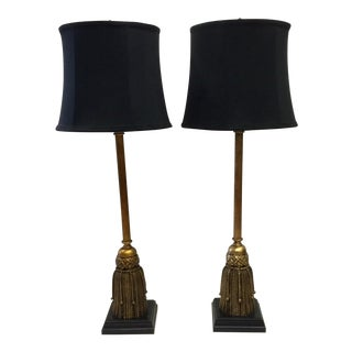 Vintage Tall Tassel Wood Gilded Table Lamps - a Pair For Sale