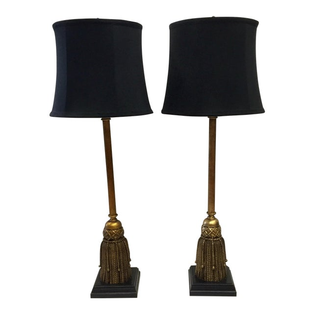 Admirable Vintage Tall Tassel Wood Gilded Table Lamps A Pair Home Remodeling Inspirations Cosmcuboardxyz