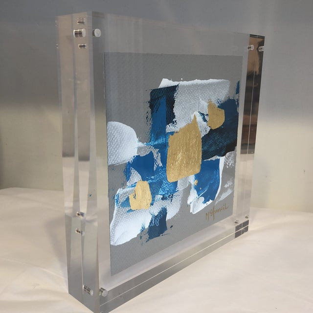 Abstract Original Art Floating in Lucite For Sale - Image 3 of 13