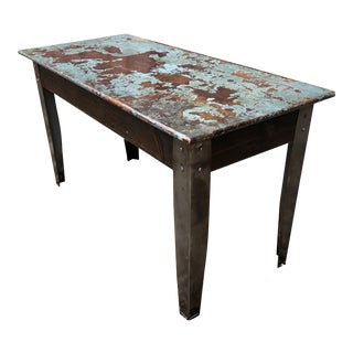 Industrial Distressed Wood Table With Metal Legs For Sale