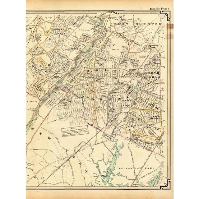 1908 Map of Bronx, Mt. Vernon & Yonkers, NY | Chairish Map Of Yonkers Ny on