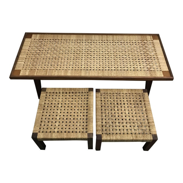 Mid-Century Woven Rope Coffee Table & Stools - Set of 3 For Sale