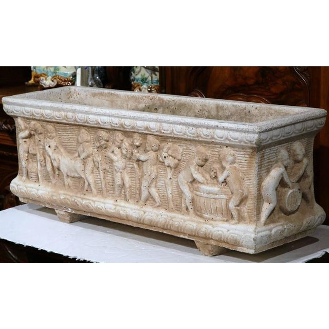 19th Century French Carved Stone Jardiniere With Children Figural Motifs For Sale - Image 4 of 9