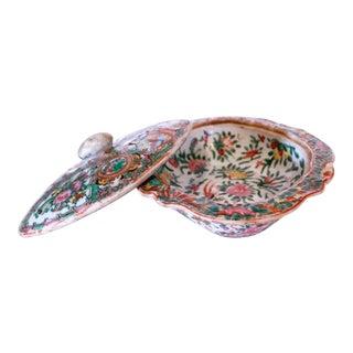 Rose Medallion Porcelain Covered Vegetable Dish For Sale