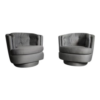 Mid-Century Silver Swivel Tub Chairs - A Pair For Sale