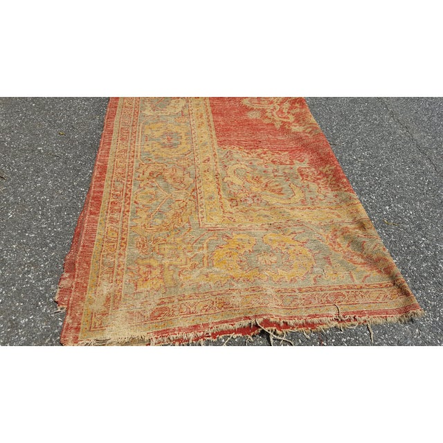 Early 19th Century Antique Turkish Oushak Rug - 9′6″ × 13′4″ For Sale - Image 11 of 12