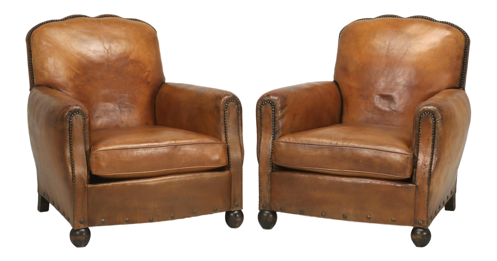 French Leather Club Chairs   A Pair