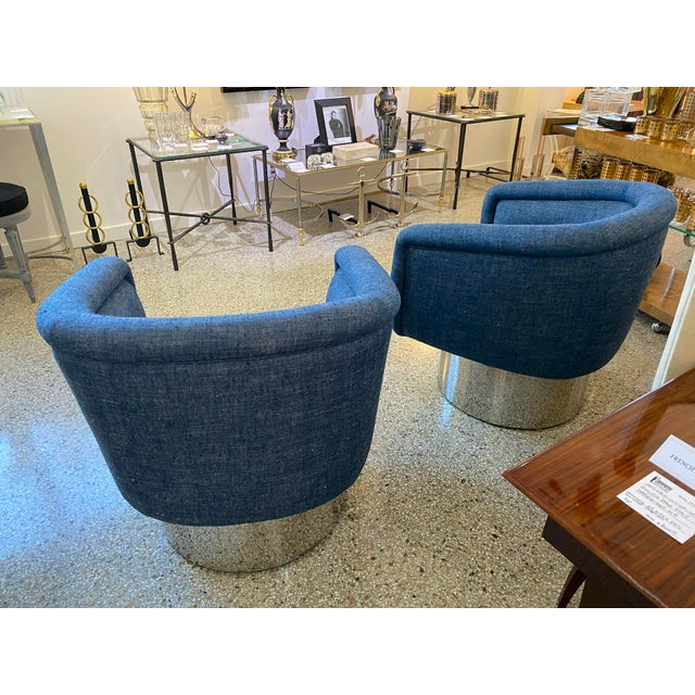 Metal Mid-Century Modern Leon Rosen for Pace Chairs Memory Swivel - a Pair For Sale - Image 7 of 13