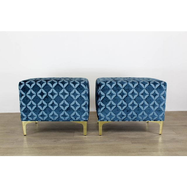 Metal Vintage Blue Chenille Ottoman- a Pair For Sale - Image 7 of 9