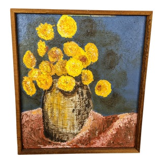 1940s Old Painting of Yellow Flowers in a Jug For Sale