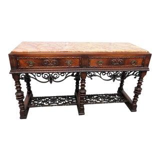 Regency Style Marble Top Sideboard For Sale