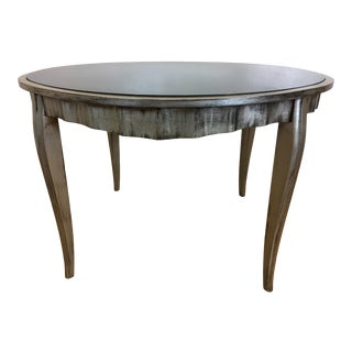 Italian Silver Leafed and Black Glass Dining/Center Hall Table For Sale