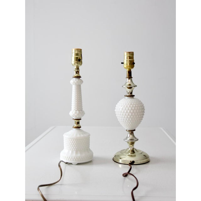 Vintage Milk Glass Hobnail Table Lamps - a Pair For Sale - Image 4 of 8
