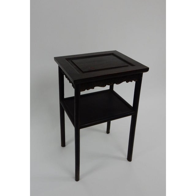 Antique Chinese Zitan Two-Tier Wood Side Table For Sale - Image 4 of 11