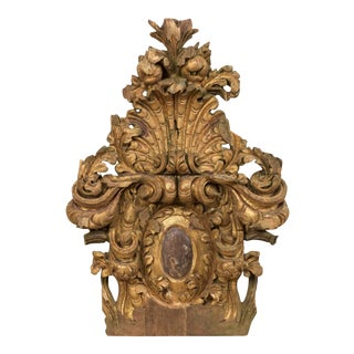 18th Century Italian Rococo Carved Wood Architectural Fragment For Sale