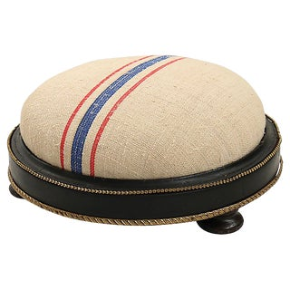 Antique French Grain Sack Footstool For Sale