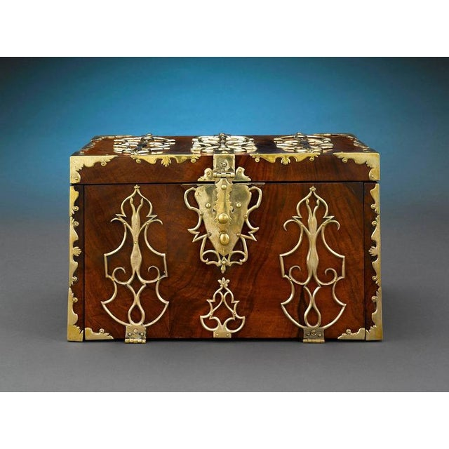 18th Century British Brass Mounted Strong Box For Sale - Image 4 of 5
