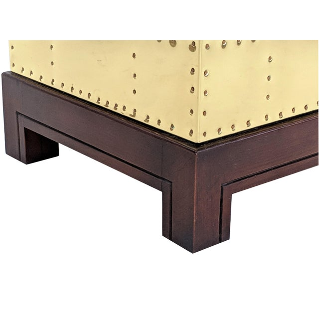 1990s 1990s Hollywood Regency Sarreid Brass Studded Cube Side Table For Sale - Image 5 of 13