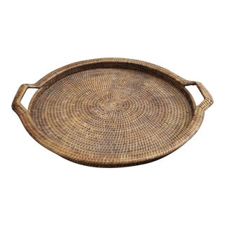 Shallow Rattan Serving Tray Basket For Sale