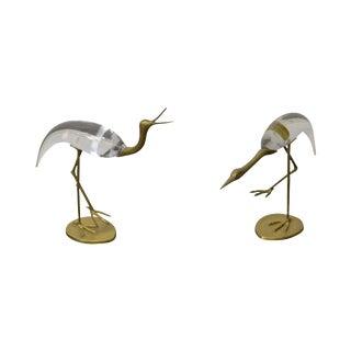 Chapman Brass & Glass Crane Sculptures - A Pair