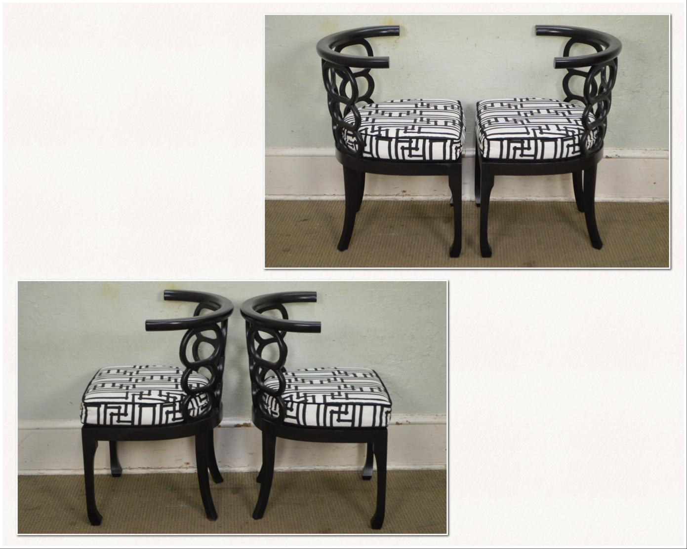 Hollywood Regency Style Black Curved Back Dining Chairs   Set Of 8   Image  3 Of