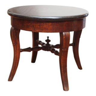 French Round Marble Top Side Table For Sale